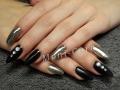 Gel nagels steentjes chrome zwart